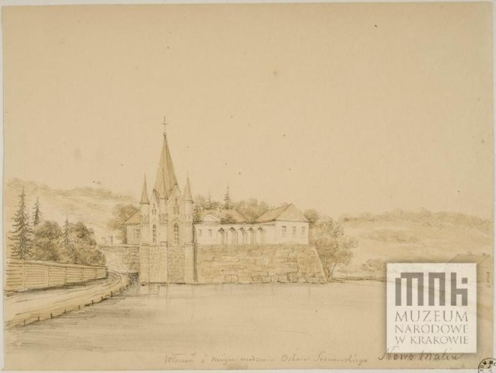 Палац у Новомалині на акварелі Наполеона Орди, 1860-1870-ті роки