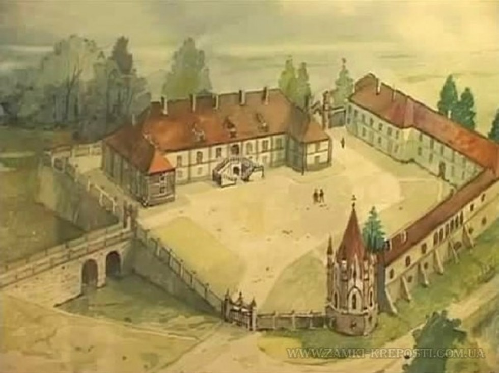 Реконструкція вигляду після переудов ХІХ століття. Каплиця - у нижній частині зображення. Показано, що вона збудована на фундаменті давньої замкової вежі