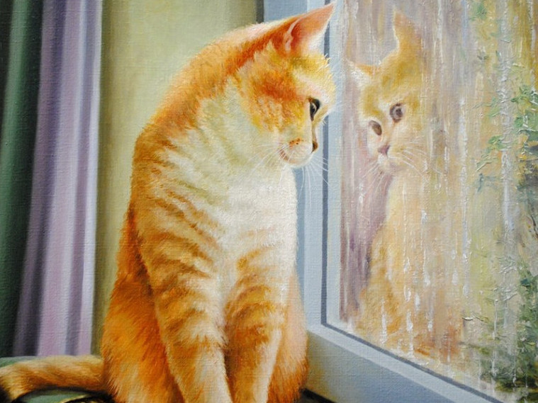Фрагмент картини В. Хом'яка «А за вікном дощ»