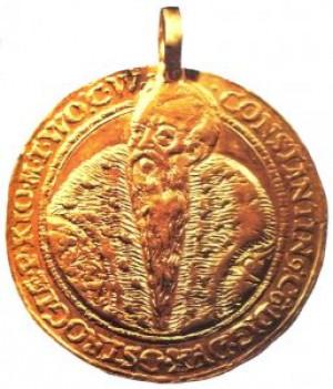 Золота лита медаль XVI століття з портретом князя, що зберігається в Ермітажі, м. Санкт-Петербург