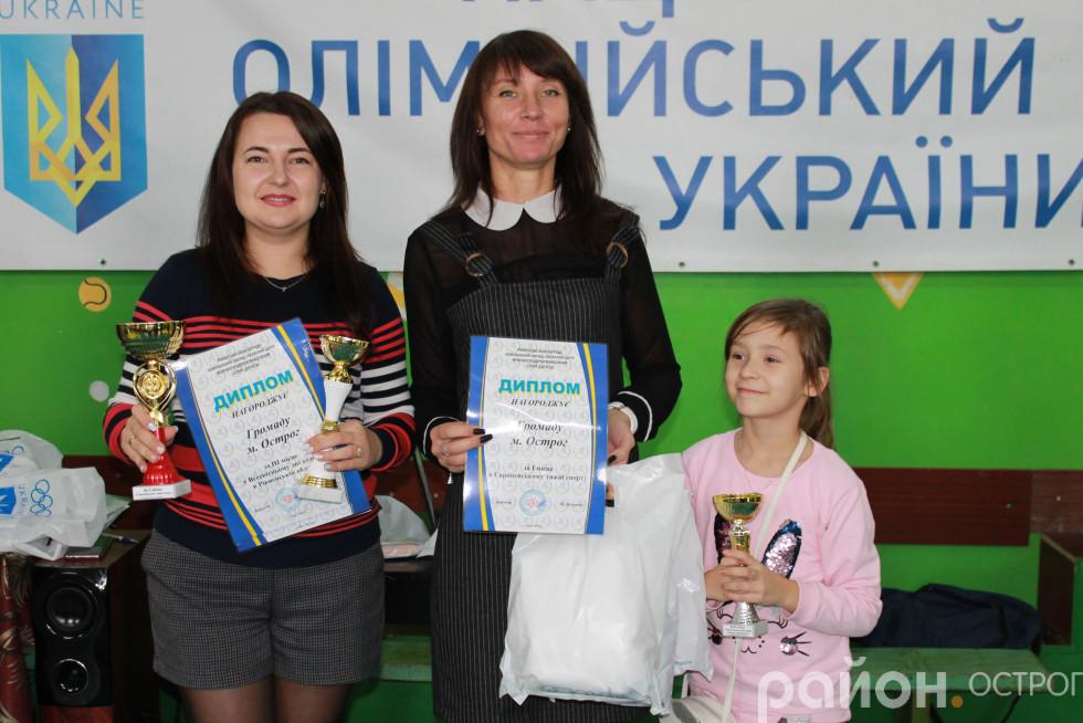 Ольга Стецюк та Оксана Ситницька отримали кубки, які завоювала громада
