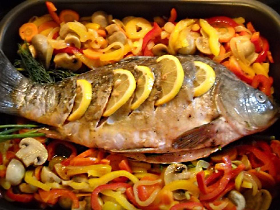 Риба запечена з грибами