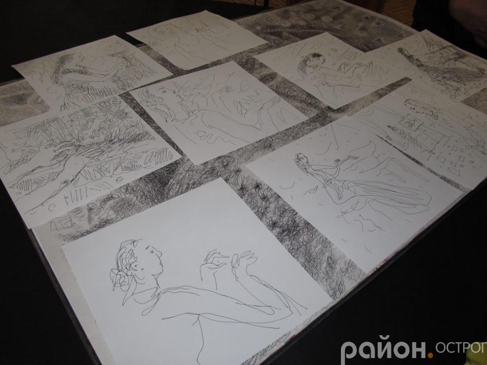 Роботи Лариси Пуханової, створені під час концерту в академії