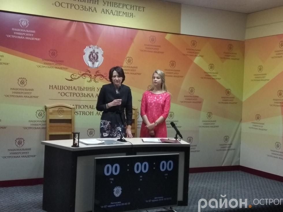 Руслана Каламаж та Олександра Вако на відкритті всеукраїнського поетичного марафону