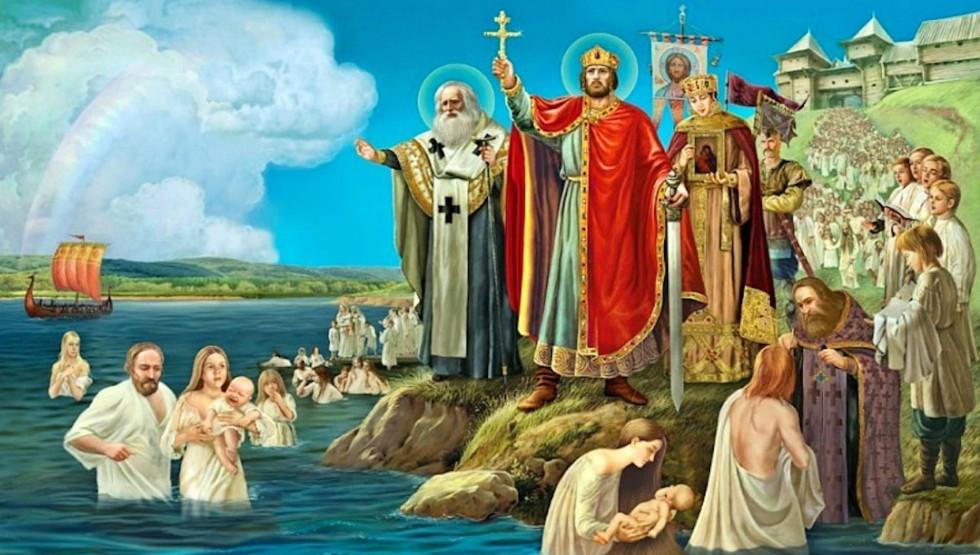 Князь Володимир христить киян