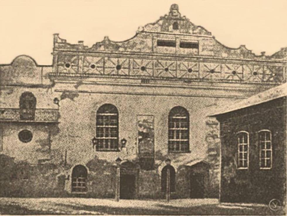 Острог, Велика синагога, з Євpейської енциклопедії Брокгауза й Ефрона, 1906 р.