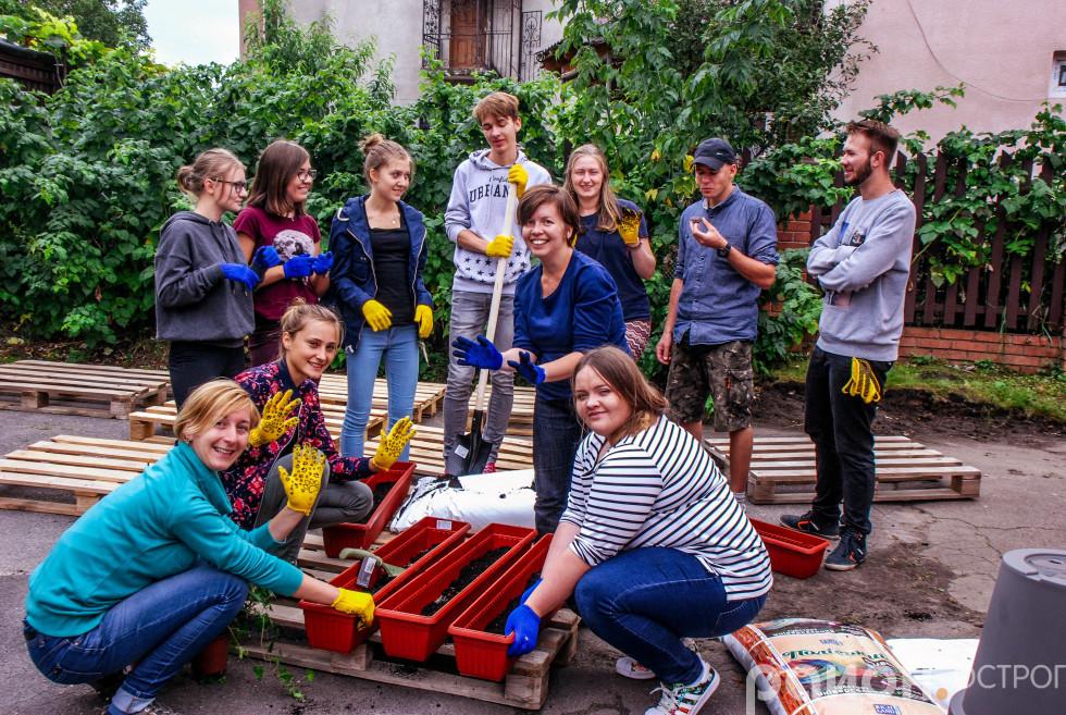 Учасники програми «Еразмус +. Культура» облагороджують територію біля ТІЦ Острога